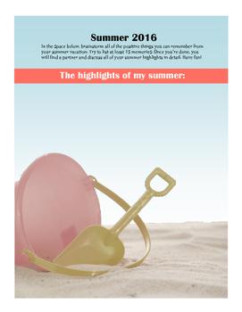 Back to School Icebreaker- Summer Highlights