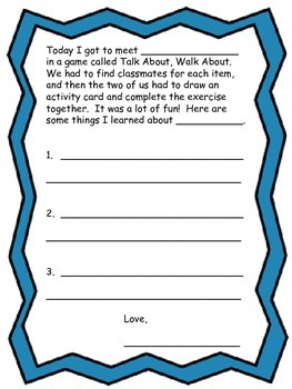 Back to School Icebreaker:  Talk about, walk about