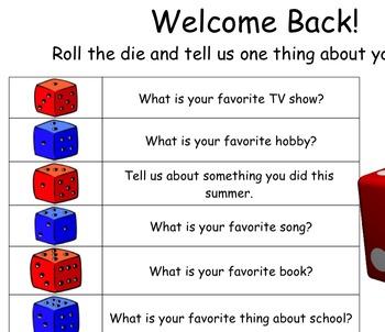 Back to School Icebreaker for Smart Board