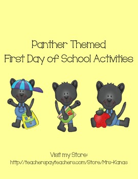 Back to School Icebreakers - Panther Themed - First Day of School