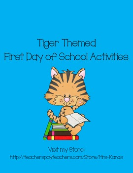 Back to School Icebreakers - Tiger Themed - First Day of School
