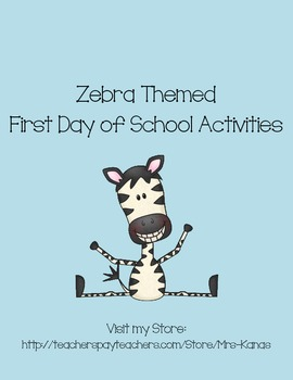 Back to School Icebreakers - Zebra Themed - First Day of School