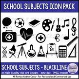 Back to School Icons (Education) Clip Art Set - Black stripes