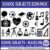 Back to School Icons (Education) Clip Art Set - Black stripes