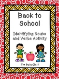 Back to School Identifying Nouns and Verbs Activity
