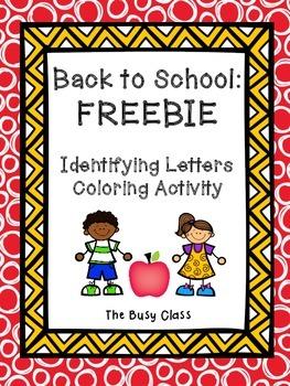 Back to School Identifying Letters FREEBIE