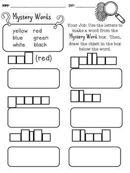 Back to School Independent Work 1st Grade Decoding Mystery Words