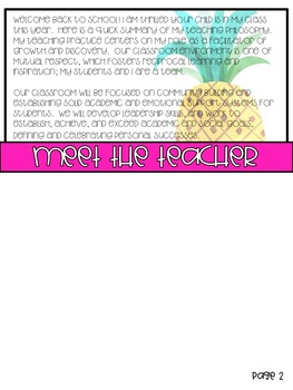 Back to School Info Flip Book - Tropical - EDITABLE