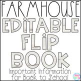 Back to School Information Editable Flip Book for Parents {Farmhouse Theme}