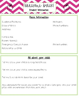 Back to School Information Forms