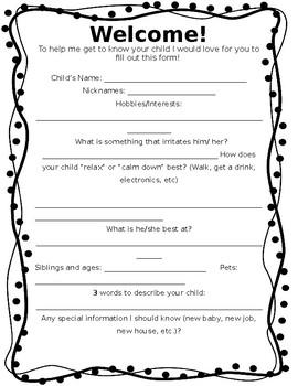 Back to School Information Sheet!