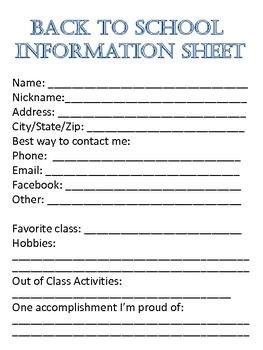 Back to School Information Sheet