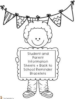 Back to School Information Sheets and Reminder Bracelets