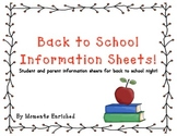 Back to School Information Sheets for Parents and Students