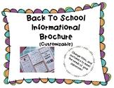 Back to School Informational Brochure - Editable