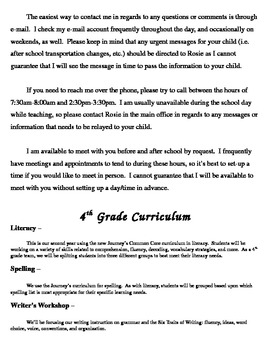 Back to School Informational Packet