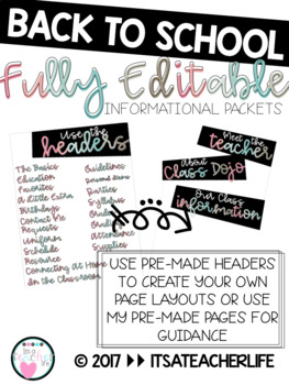 Back to School Informational Packet | Fully Editable