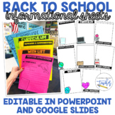 Back to School Informational Sheets for PowerPoint and Goo