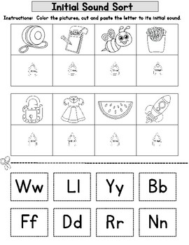 Initial Sound Freebie:  Cut and Paste Alphabet Worksheets