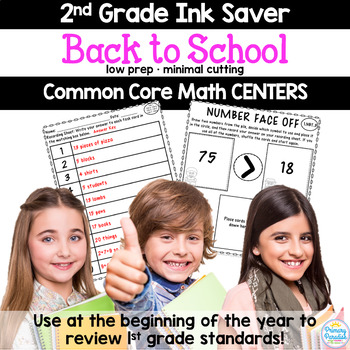 Back to School: Ink Saver, Low Prep! 2nd Grade Math Centers (Common Core)