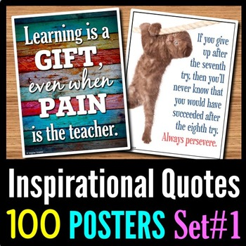 Back to School Inspirational Quotes Posters - 100 Classroom Posters - Set 1