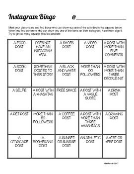 Back To School Instagram People Bingo Technology Phone Activity By