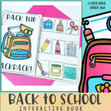 Back to School Interactive Book for Speech Therapy