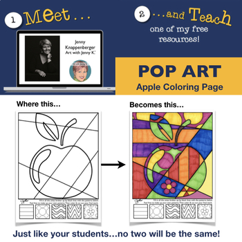 APPLE Pop Art Interactive Coloring Sheet by Art with Jenny K TpT