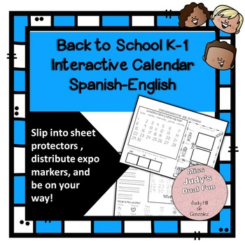 Back to School Interactive K-1 Calendar