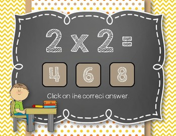 Back to School! Interactive Math Game - MULTIPLICATION Facts 0-5