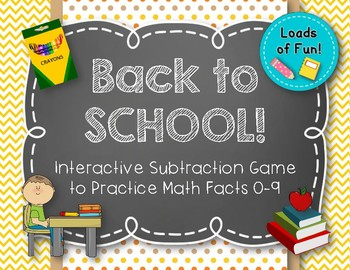 Back to School! Interactive Math Game - SUBTRACTION Facts 0-9