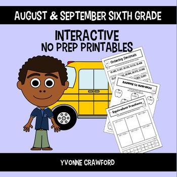 Back to School Interactive No Prep Printables - Sixth Grade