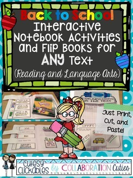 Back to School Interactive Notebook Activities and Flip Books for ANY Text