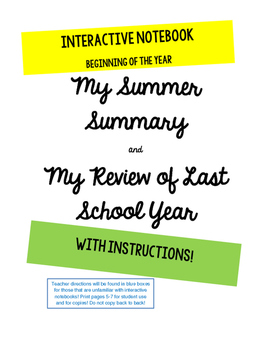 Back to School First Week activity Interactive Notebook Lapbook Summer Review