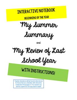 Back to School First Week activity Interactive Notebook La