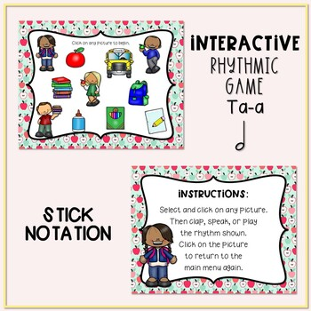 Back to School! Interactive Rhythm Game - Ta-a (Stick Notation)
