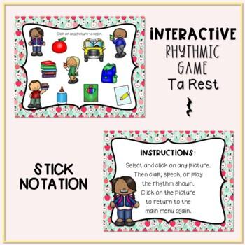 Back to School! Interactive Rhythm Game - Ta rest (Stick Notation)
