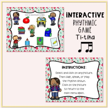 Back to School! Interactive Rhythm Game - Ti-tika/Ti-tiri (STAFF Notation)