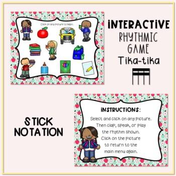 Back to School! Interactive Rhythm Game - Tika-tika/Tiri-tiri (Stick Notation)