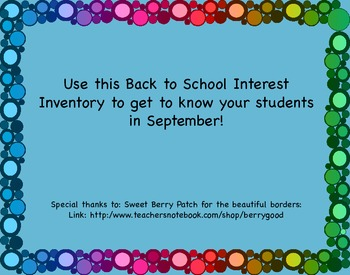 Back to School Interest Inventory