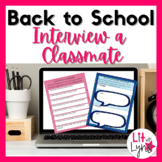 BACK TO SCHOOL INTERVIEW A CLASSMATE- DIGITAL & PRINTABLE