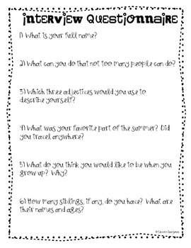 Back to School {Interview a Friend} Activity