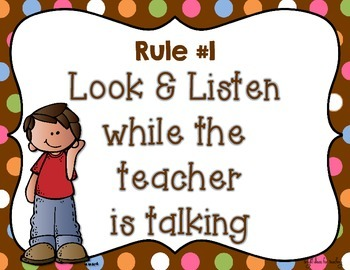 Whole Brain Teaching Class Rules {Brown Polka Dots}