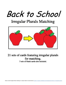 Back to School Irregular Plurals Matching