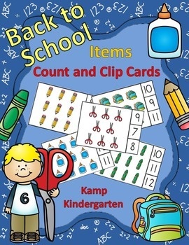Back to School Items Count and Clip Cards (Sets to 12)