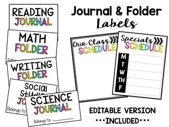 Classroom Labels (Journal & Folders)