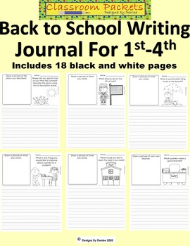 Back to School Journal Set for 1st Grade Through 4th Grade
