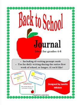 Back to School Journal with writing prompts