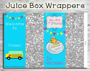 Back to School Juice Box Wrappers...Add Your Name & Grade Level