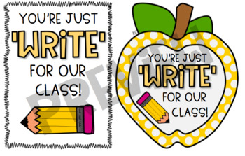 """Back to School """"Just Write"""" Gift Tag"""